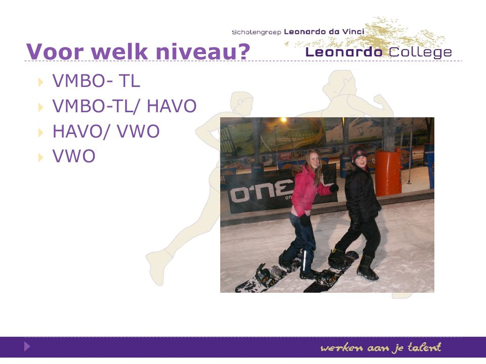 Voor welk niveau VMBO- TL VMBO-TL/ HAVO HAVO/ VWO VWO