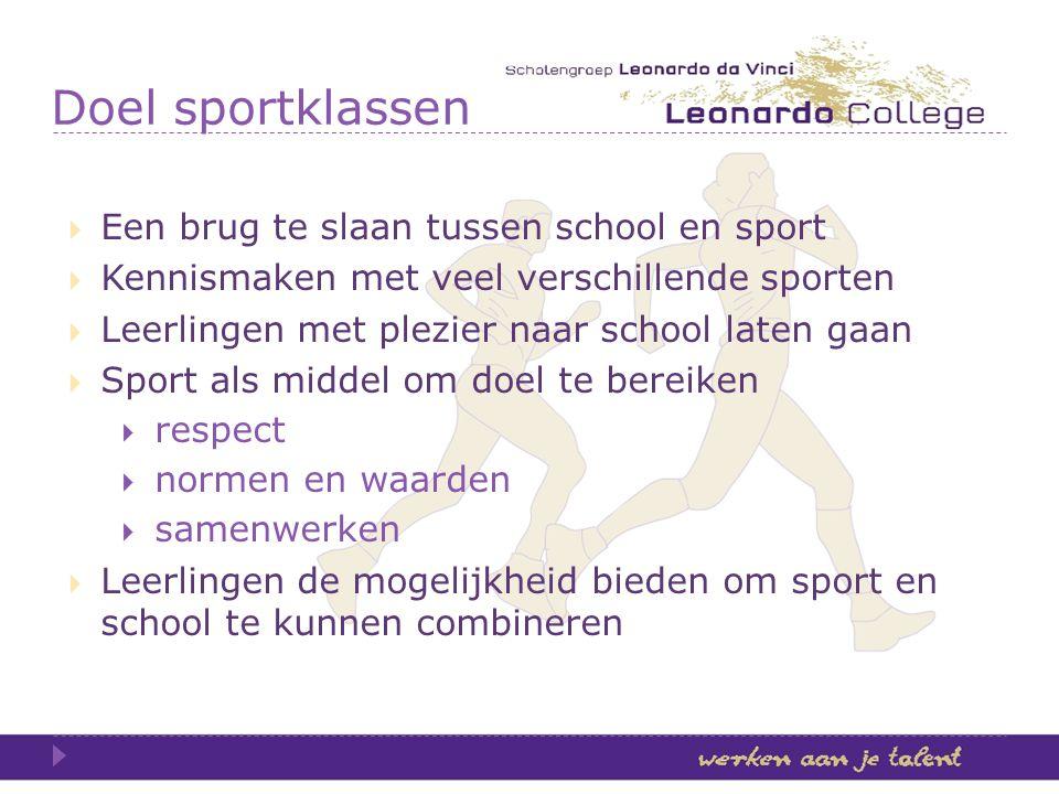 Doel sportklassen Een brug te slaan tussen school en sport