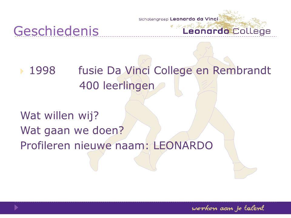 Geschiedenis 1998 fusie Da Vinci College en Rembrandt 400 leerlingen