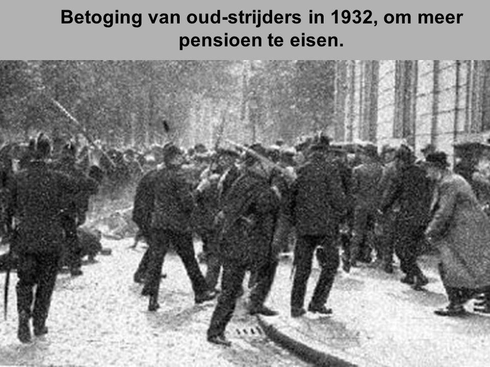 Betoging van oud-strijders in 1932, om meer pensioen te eisen.