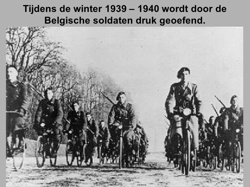 Tijdens de winter 1939 – 1940 wordt door de Belgische soldaten druk geoefend.