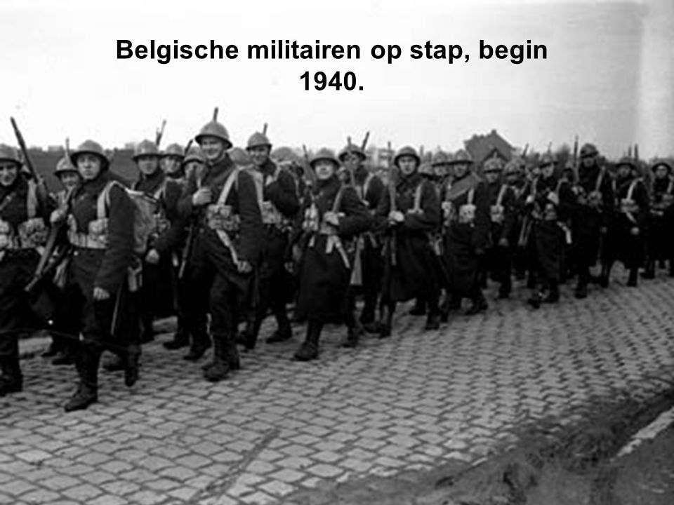 Belgische militairen op stap, begin 1940.