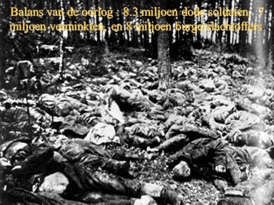 Balans van de oorlog : 8.3 miljoen dode soldaten, 7 miljoen verminkten, en 8 miljoen burgerslachtoffers.