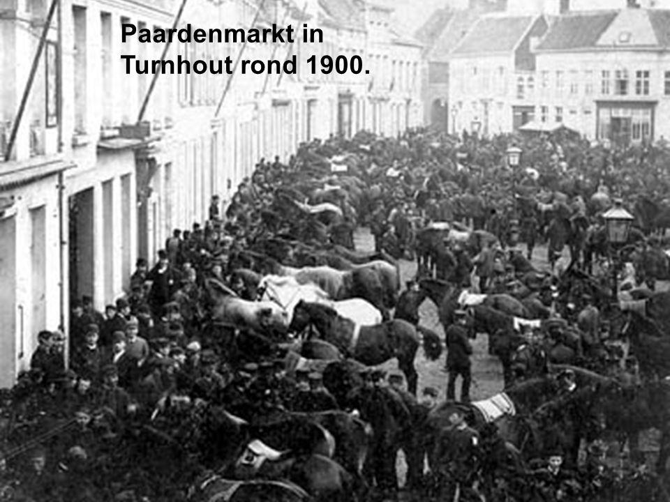 Paardenmarkt in Turnhout rond 1900.