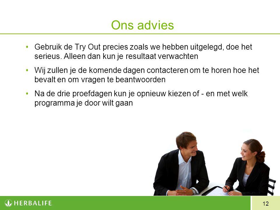 Ons advies Gebruik de Try Out precies zoals we hebben uitgelegd, doe het serieus. Alleen dan kun je resultaat verwachten.
