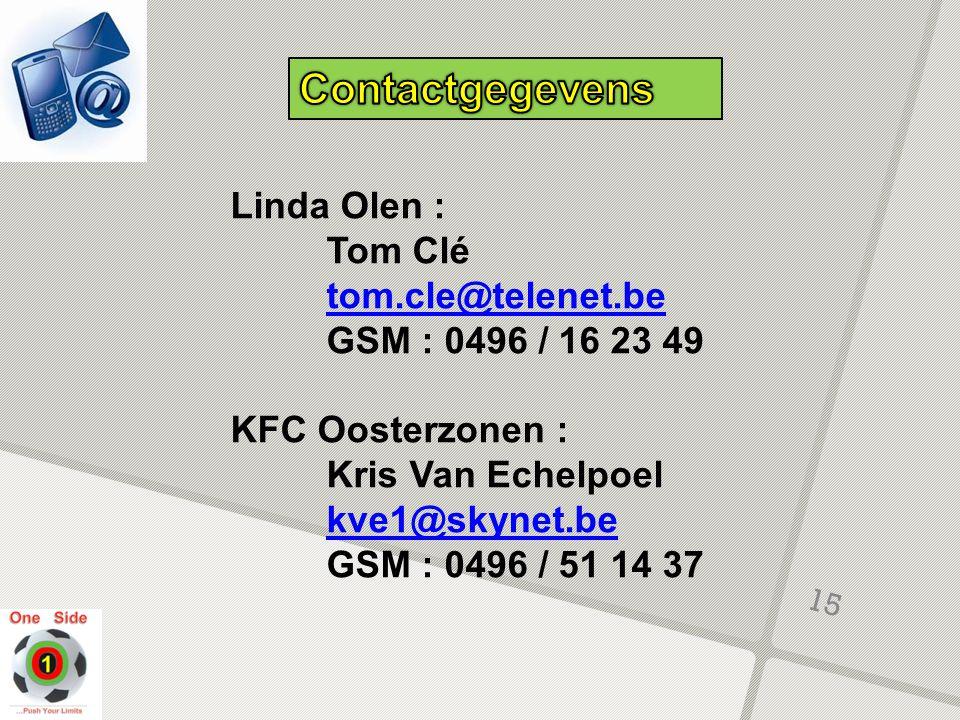 Contactgegevens Linda Olen : Tom Clé tom.cle@telenet.be