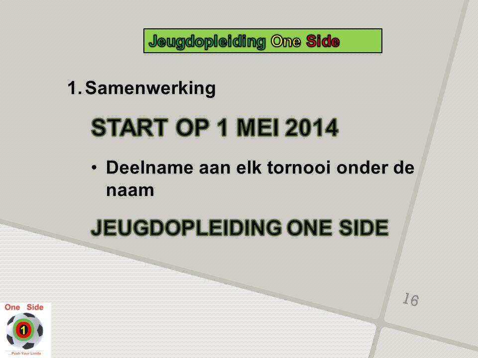 START OP 1 MEI 2014 JEUGDOPLEIDING ONE SIDE Samenwerking