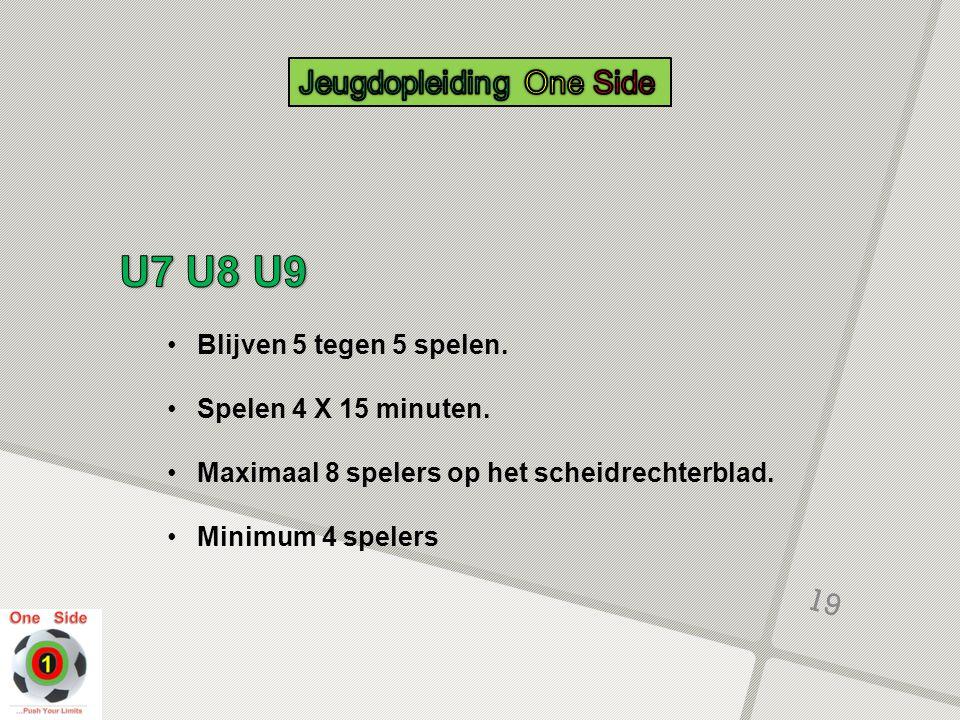U7 U8 U9 Jeugdopleiding One Side Blijven 5 tegen 5 spelen.