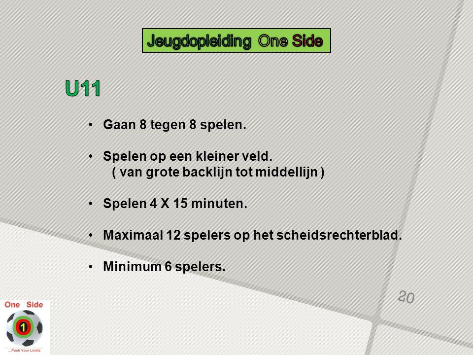 U11 Jeugdopleiding One Side Gaan 8 tegen 8 spelen.
