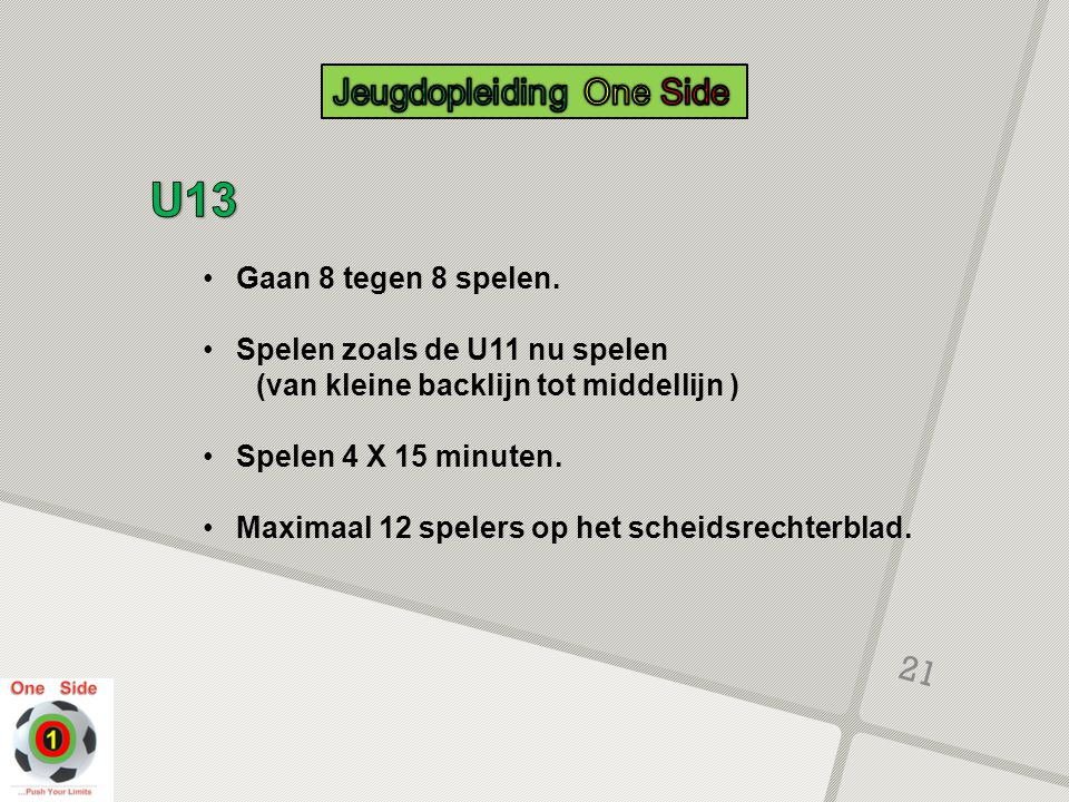 U13 Jeugdopleiding One Side Gaan 8 tegen 8 spelen.