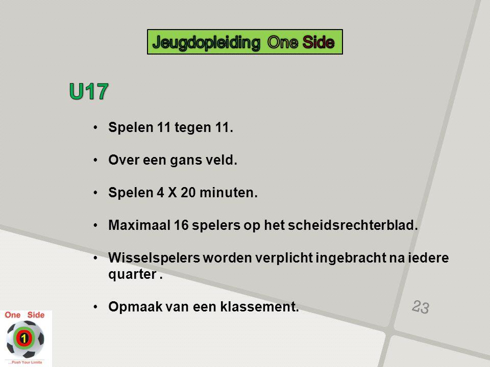 U17 Jeugdopleiding One Side Spelen 11 tegen 11. Over een gans veld.