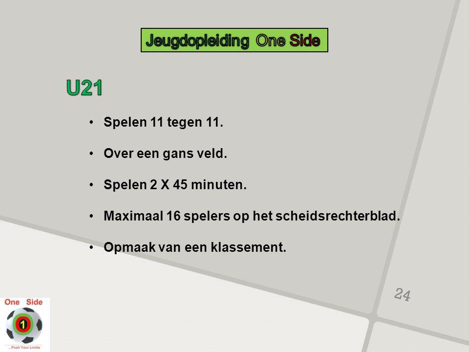 U21 Jeugdopleiding One Side Spelen 11 tegen 11. Over een gans veld.