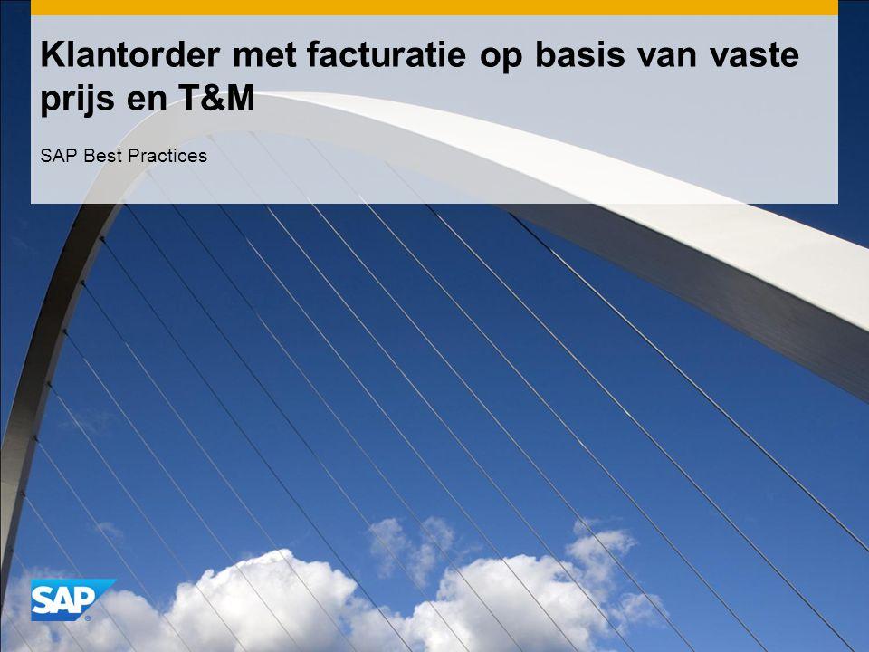 Klantorder met facturatie op basis van vaste prijs en T&M