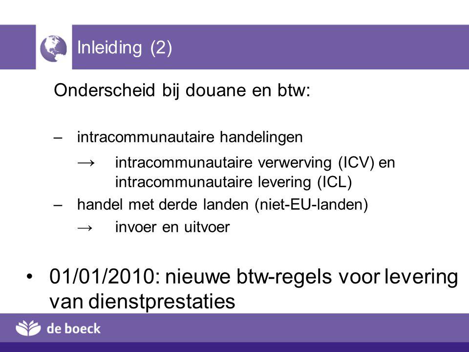 01/01/2010: nieuwe btw-regels voor levering van dienstprestaties