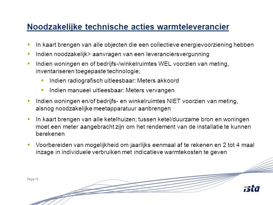 Noodzakelijke technische acties warmteleverancier