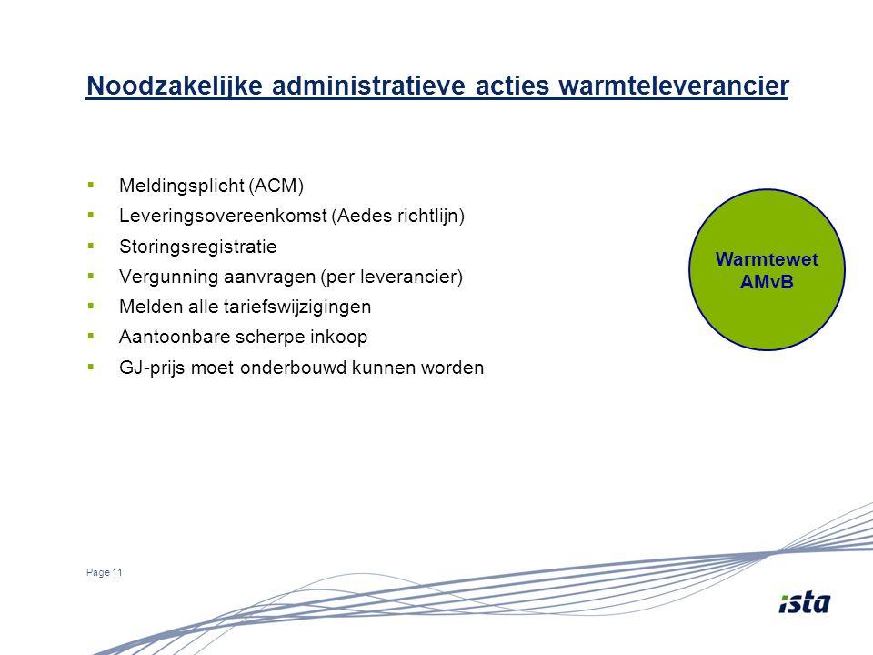 Noodzakelijke administratieve acties warmteleverancier