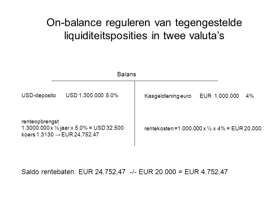 On-balance reguleren van tegengestelde liquiditeitsposities in twee valuta's