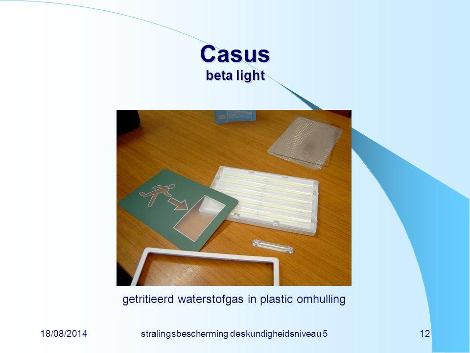 Casus beta light getritieerd waterstofgas in plastic omhulling