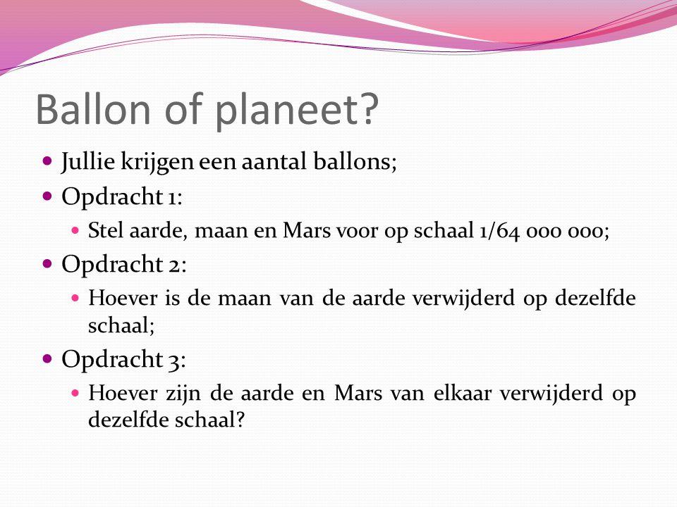 Ballon of planeet Jullie krijgen een aantal ballons; Opdracht 1: