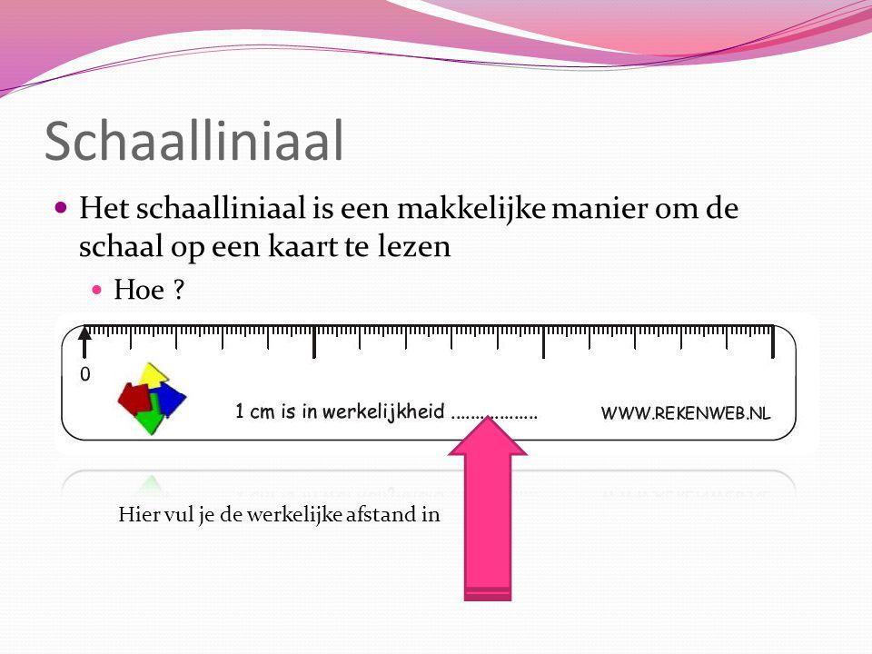 Schaalliniaal Het schaalliniaal is een makkelijke manier om de schaal op een kaart te lezen. Hoe