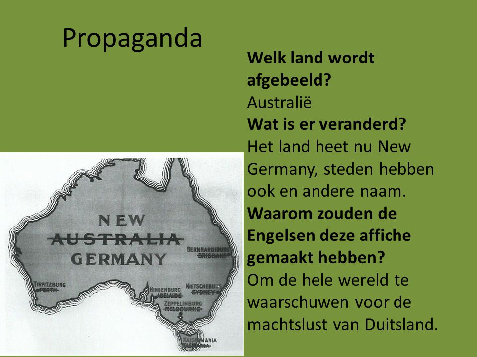 Propaganda Welk land wordt afgebeeld Australië Wat is er veranderd