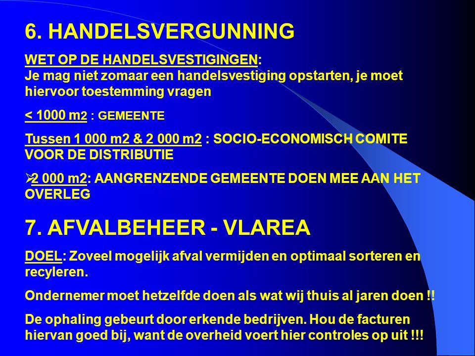 6. HANDELSVERGUNNING 7. AFVALBEHEER - VLAREA
