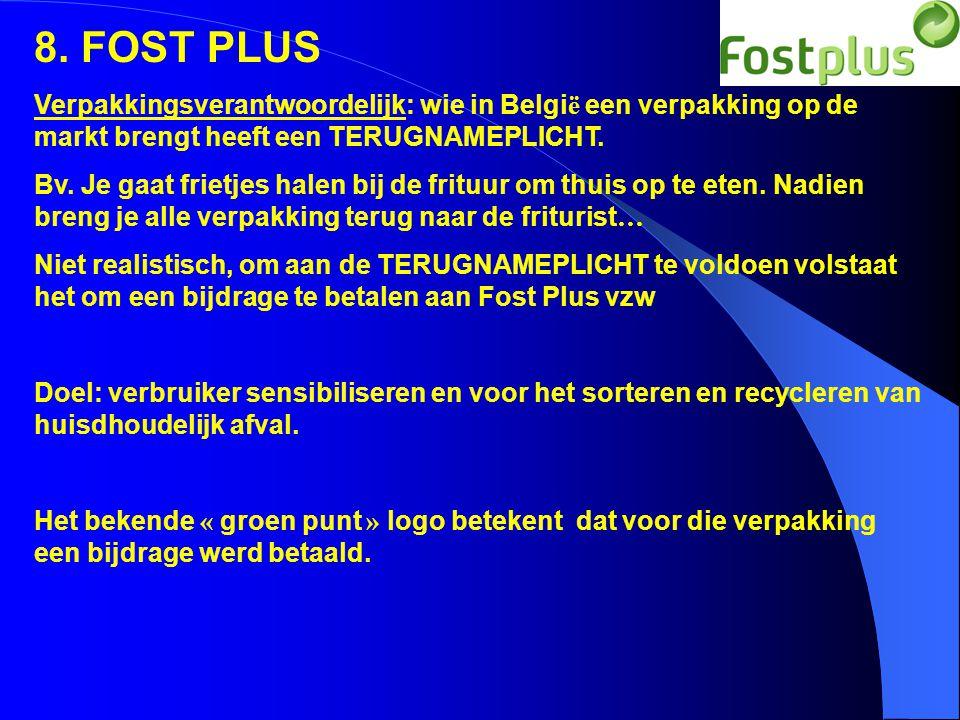 8. FOST PLUS Verpakkingsverantwoordelijk: wie in België een verpakking op de markt brengt heeft een TERUGNAMEPLICHT.