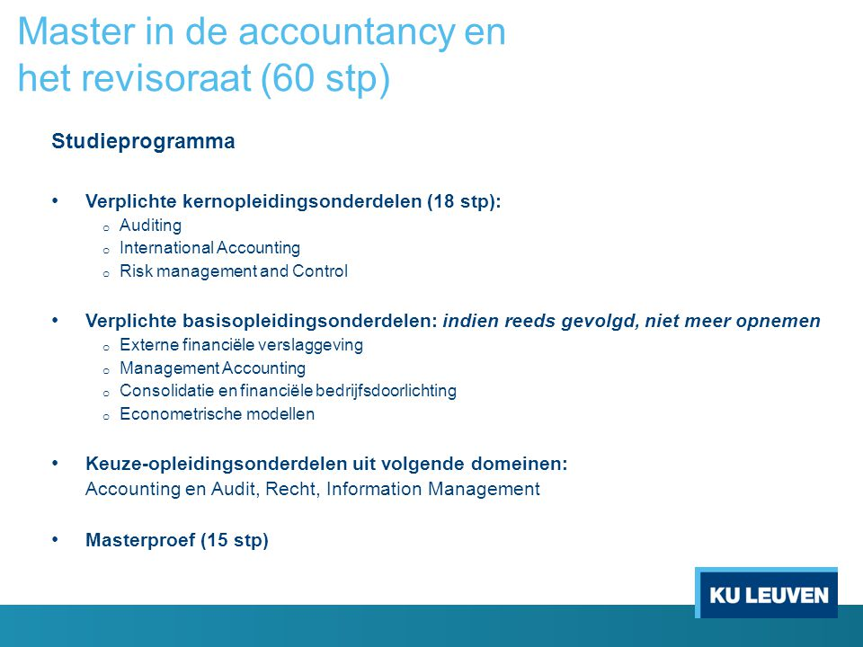 Master in de accountancy en het revisoraat (60 stp)