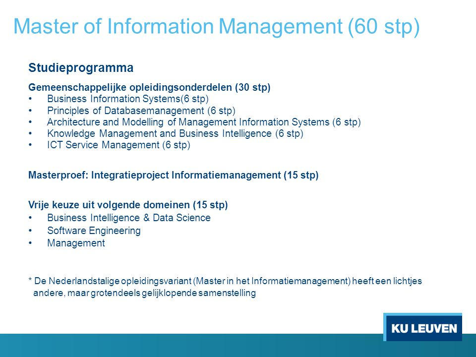 Master of Information Management (60 stp)