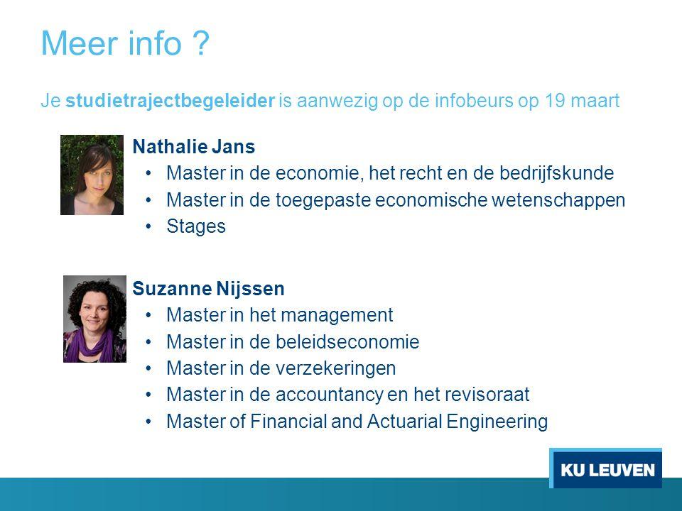 Meer info Je studietrajectbegeleider is aanwezig op de infobeurs op 19 maart. Nathalie Jans. Master in de economie, het recht en de bedrijfskunde.