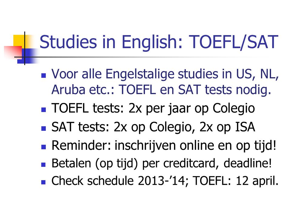 Studies in English: TOEFL/SAT