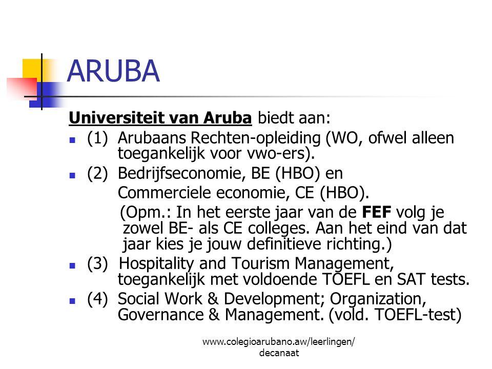 ARUBA Universiteit van Aruba biedt aan: