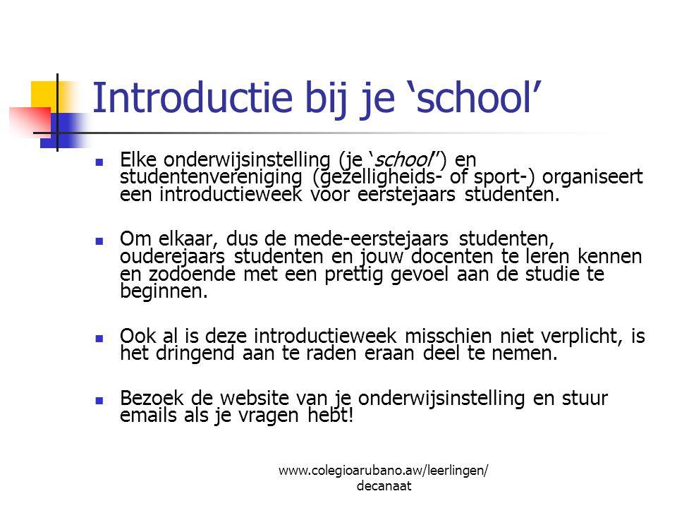 Introductie bij je 'school'