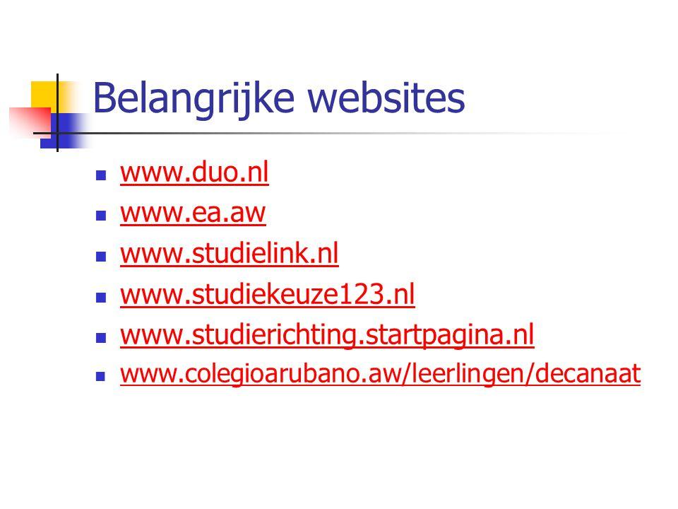 Belangrijke websites www.duo.nl www.ea.aw www.studielink.nl
