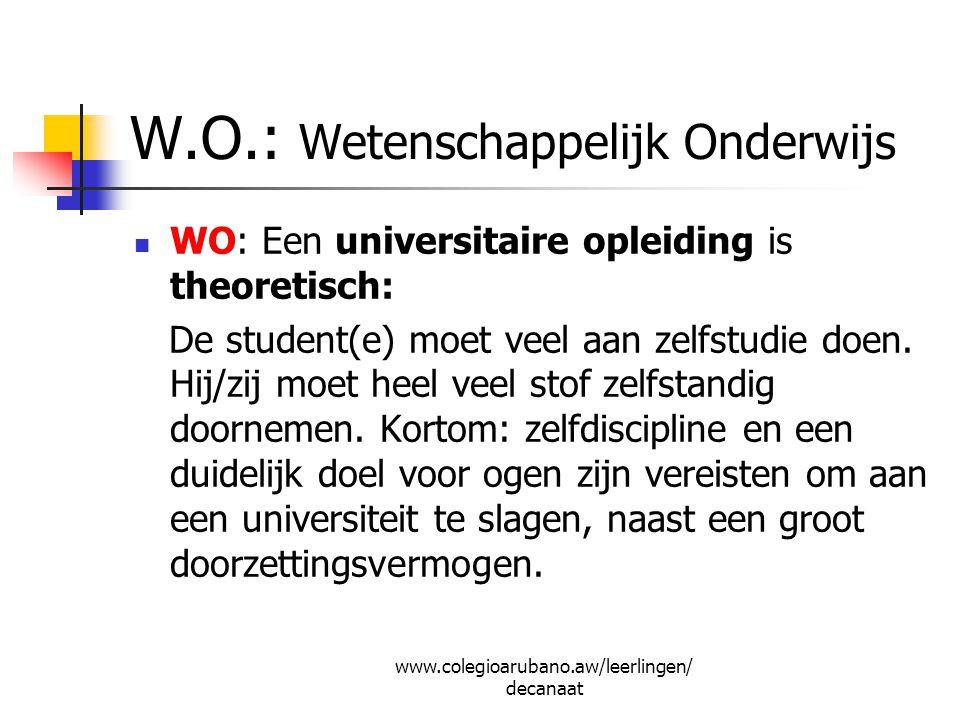 W.O.: Wetenschappelijk Onderwijs