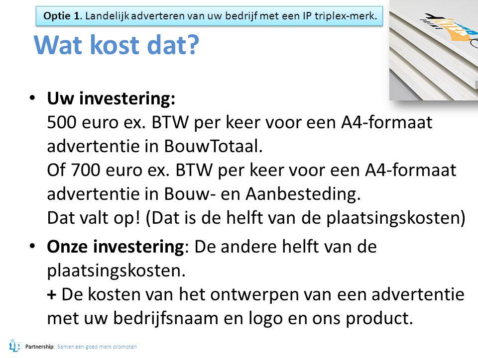 Optie 1. Landelijk adverteren van uw bedrijf met een IP triplex-merk.