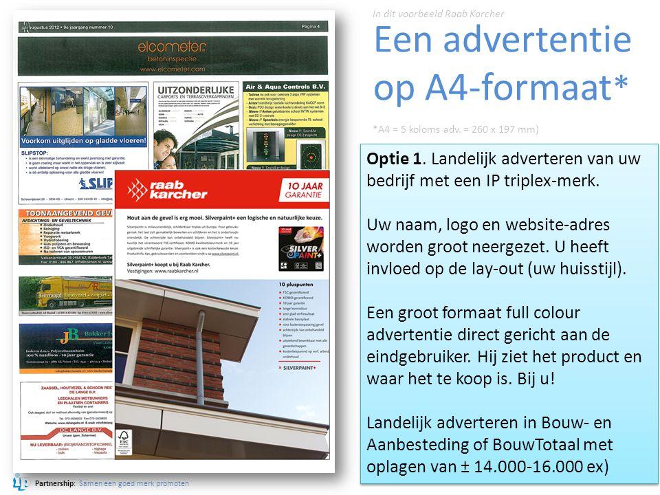 Een advertentie op A4-formaat*