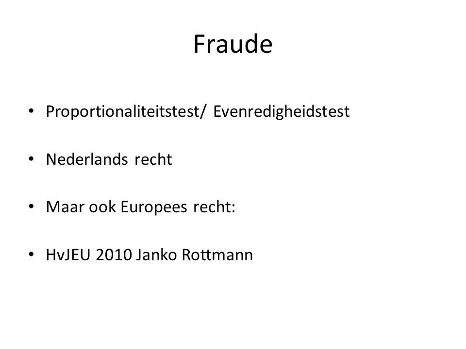 Fraude Proportionaliteitstest/ Evenredigheidstest Nederlands recht