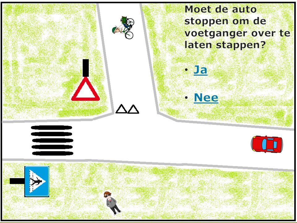 Moet de auto stoppen om de voetganger over te laten stappen