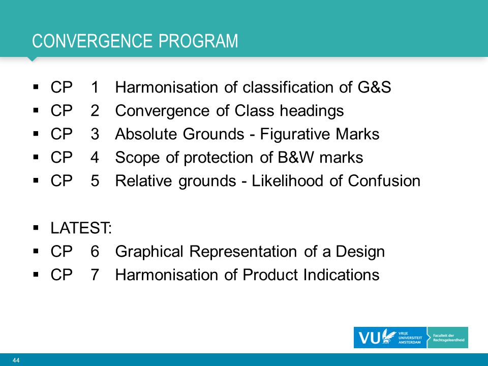 Convergence PROGRAM CP 1 Harmonisation of classification of G&S