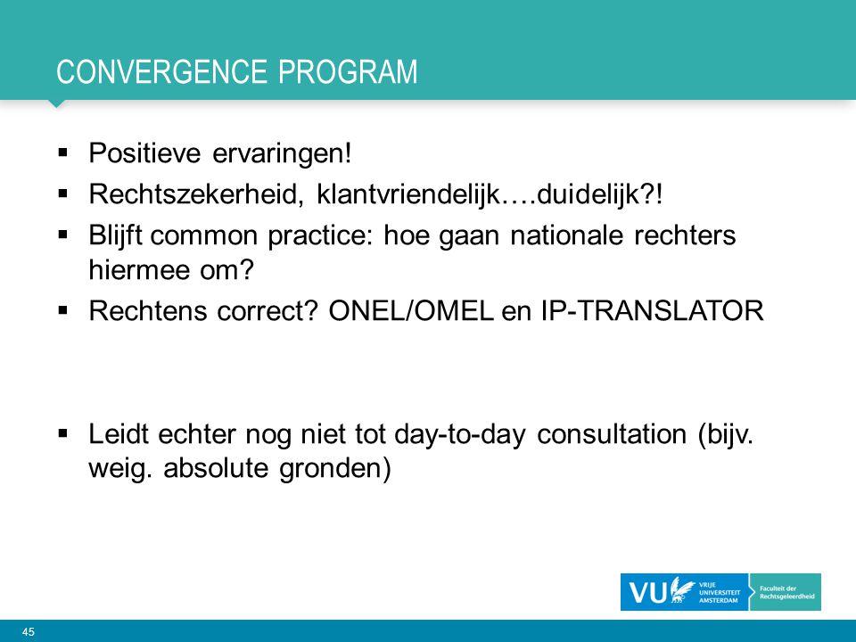 Convergence PROGRAM Positieve ervaringen!