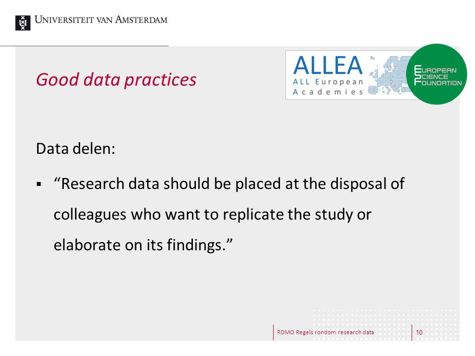 Good data practices Data delen: