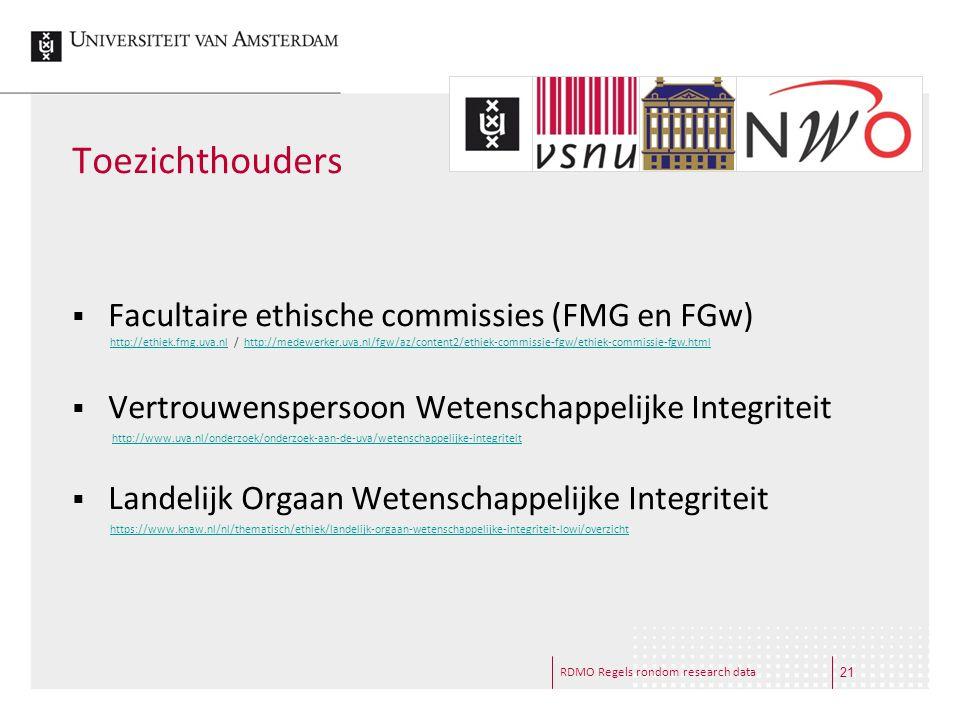 Toezichthouders Facultaire ethische commissies (FMG en FGw)