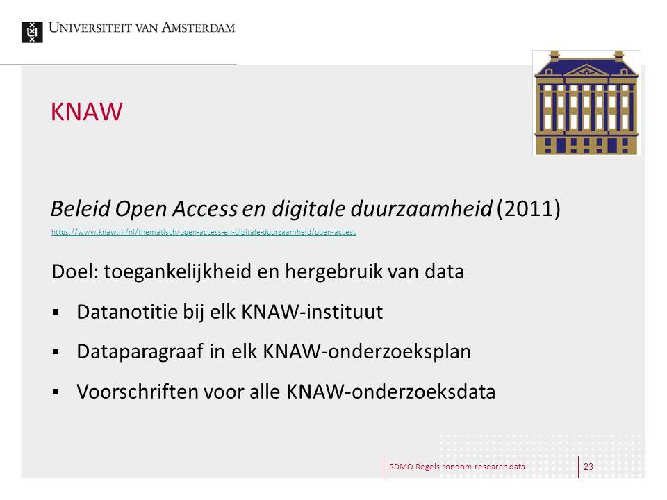 KNAW Beleid Open Access en digitale duurzaamheid (2011)