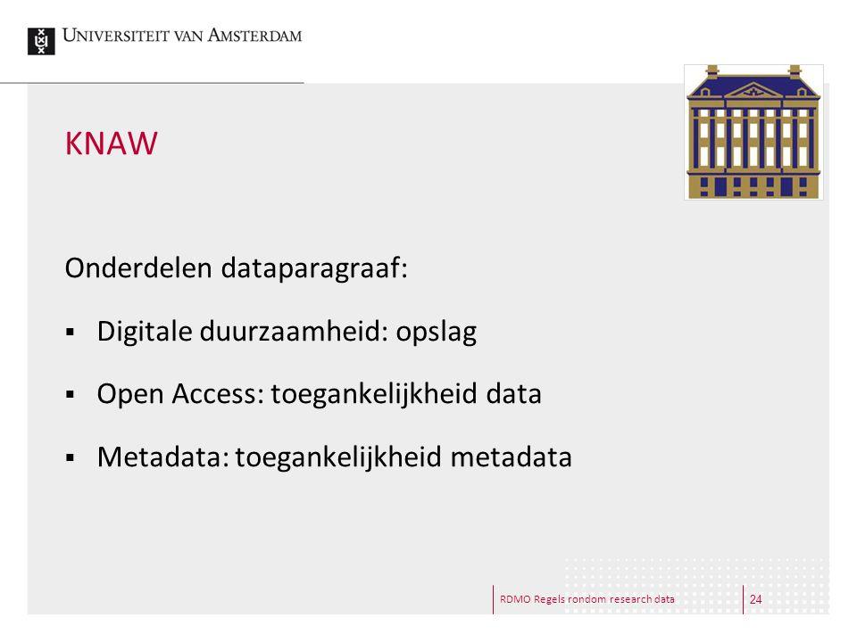 KNAW Onderdelen dataparagraaf: Digitale duurzaamheid: opslag