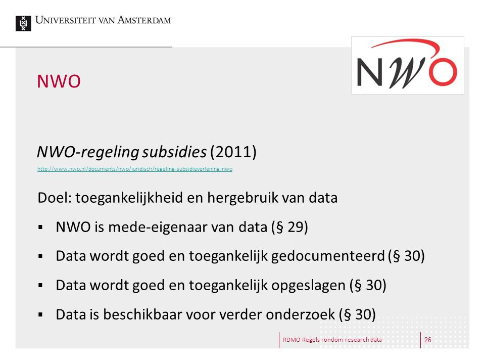 NWO NWO-regeling subsidies (2011)