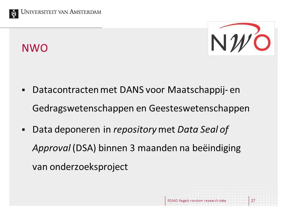 NWO Datacontracten met DANS voor Maatschappij- en Gedragswetenschappen en Geesteswetenschappen.
