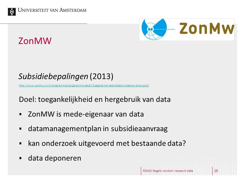 ZonMW Subsidiebepalingen (2013)
