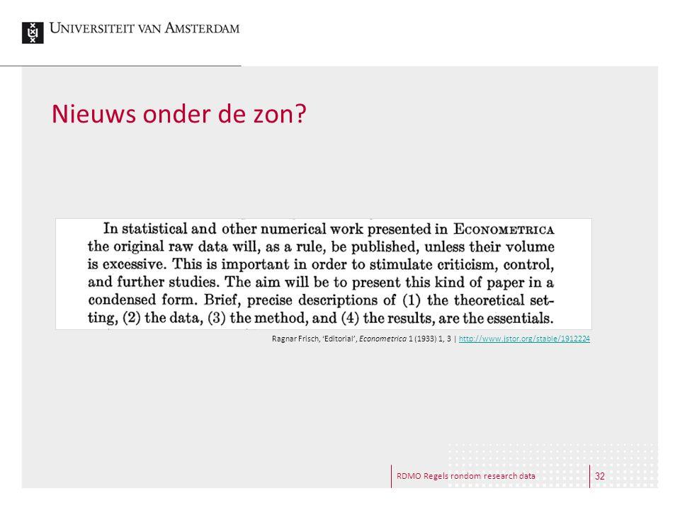 Nieuws onder de zon RDMO Regels rondom research data