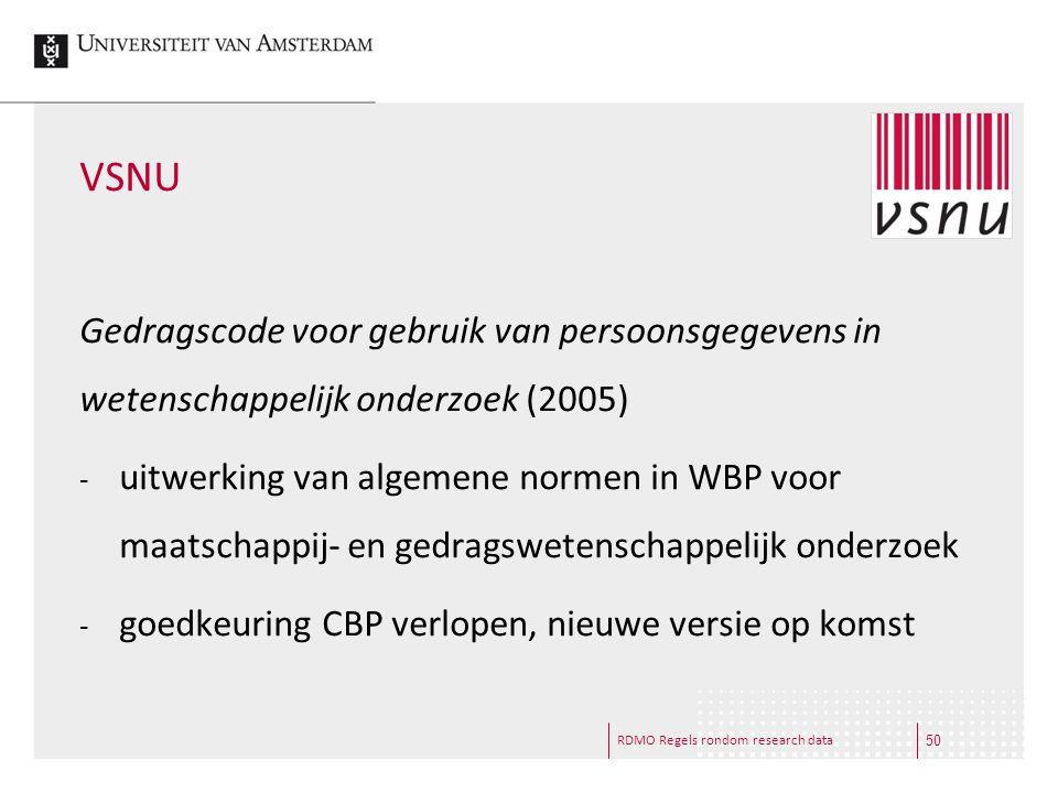 VSNU Gedragscode voor gebruik van persoonsgegevens in wetenschappelijk onderzoek (2005)